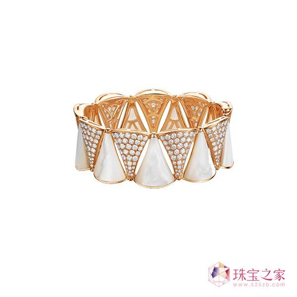 BVLGARI宝格丽Serpenti系列玫瑰金珍珠母贝钻石耳环