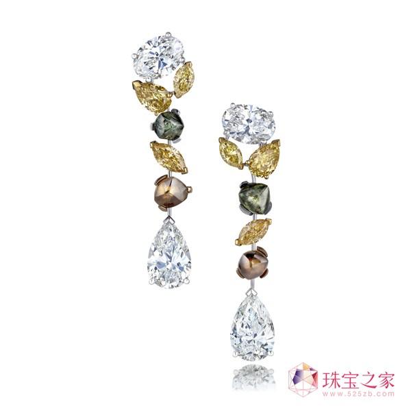 DeBeers 钻石 天然原钻 莲花 柔美 高级珠宝 水滴形 花朵 风筝