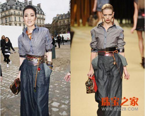 巩俐木质配饰衬时尚高贵气质亮相巴黎