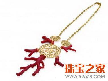 tous黄金色圆形镂空及红珊瑚吊坠项链