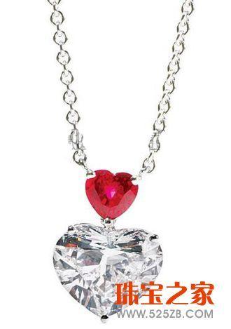 graff心形切割白色钻石配心形红宝石吊坠项链