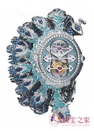 腕表整体造型由环绕中央陀飞轮的钻石表圈逐渐拉长延伸,孔雀羽翼色彩图片
