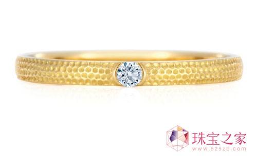 镶白钻黄金指环