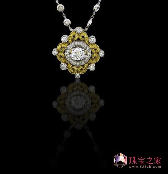 Charles Krypell花式黄色和白色的钻石吊坠
