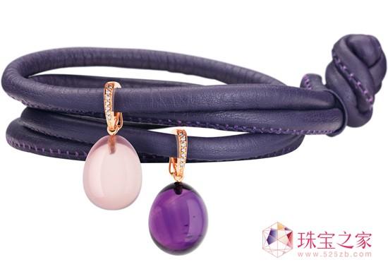饰吊饰紫色皮革手链