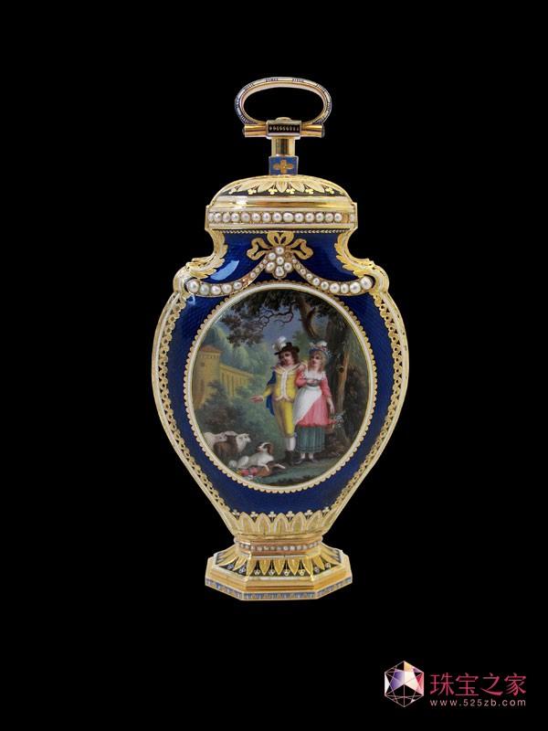 黄金珐琅彩酒瓶座钟