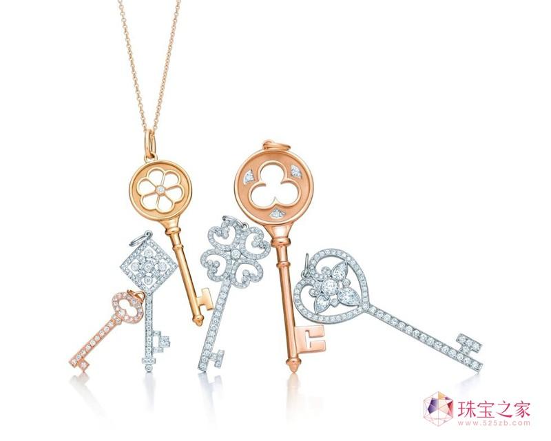 Tiffany Keys 铂金、18K玫瑰金、18K�S金钻石吊坠