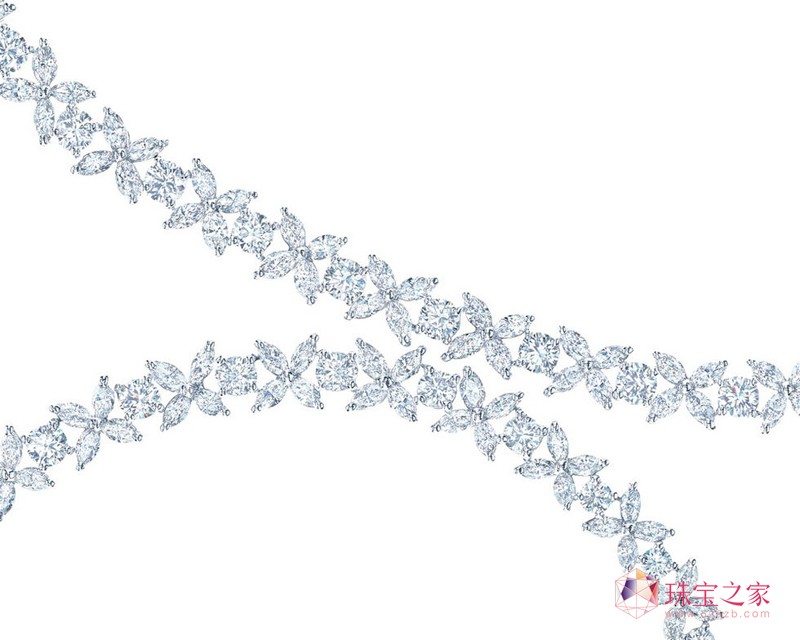 Victoria 铂金榄尖形及圆形钻石项链