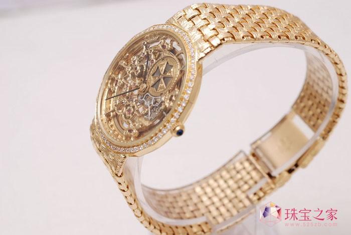 华丽复古 江诗丹顿18K黄金镂空雕花自动上链腕表
