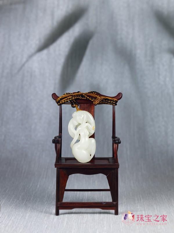 北京博观拍卖2012年春拍重点拍品赏鉴 吴德�N和田玉籽料鹤女把件