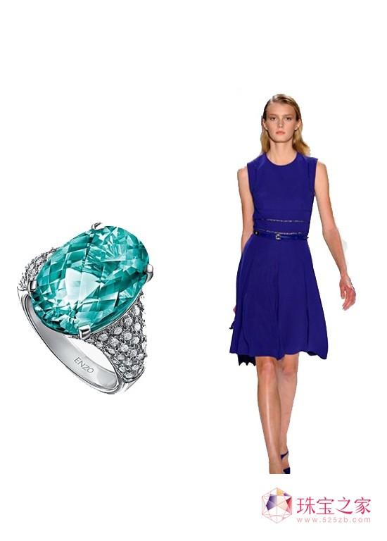 enzo帕拉依巴碧玺钻石戒指高清图片