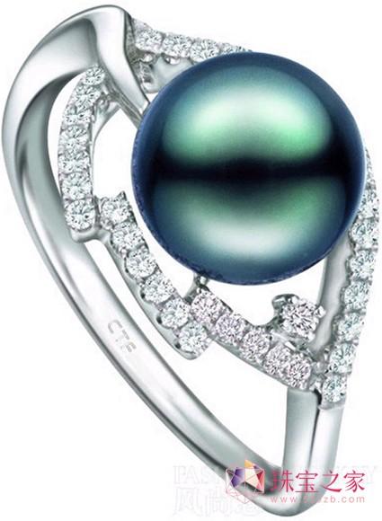 周大福绝泽系列黑珍珠戒指