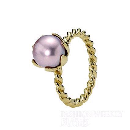 pandora灰粉色珍珠戒指