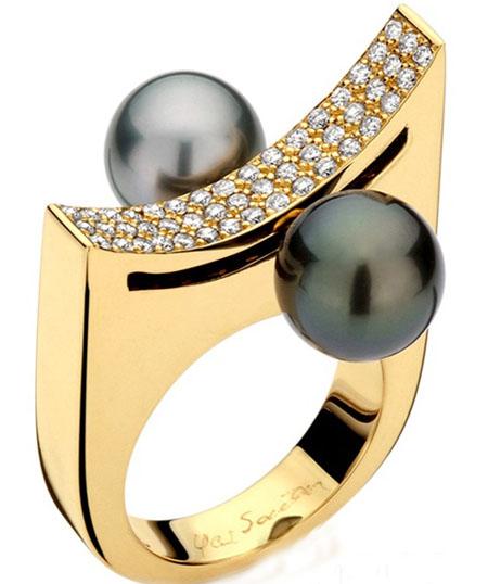 Yael Sonia K金镶钻的珍珠戒指
