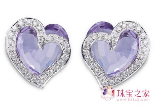 施华洛世奇 母亲节 Tie your Heart 18K金紫晶钻石耳环