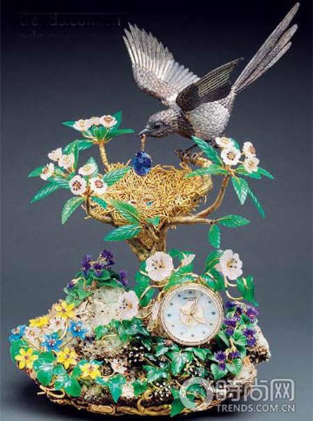 百达翡丽喜鹊聚宝鸟巢座钟