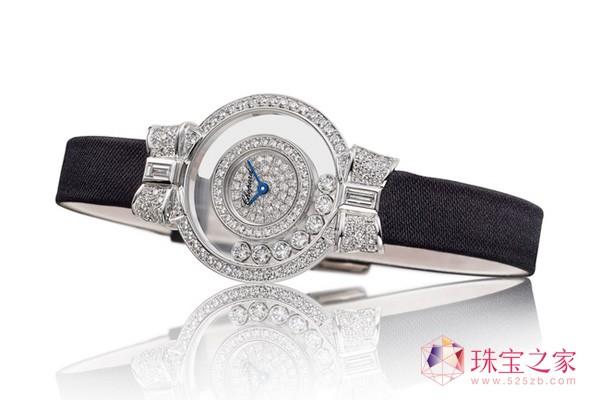 萧邦Happy Diamonds系列腕表,18K白金材质镶嵌钻石