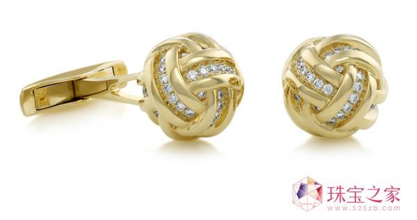 18K黄金KNOT袖扣戴比尔斯钻石珠宝(DE BEERS DIAMOND JEWELLERS)AZULEA男士礼品