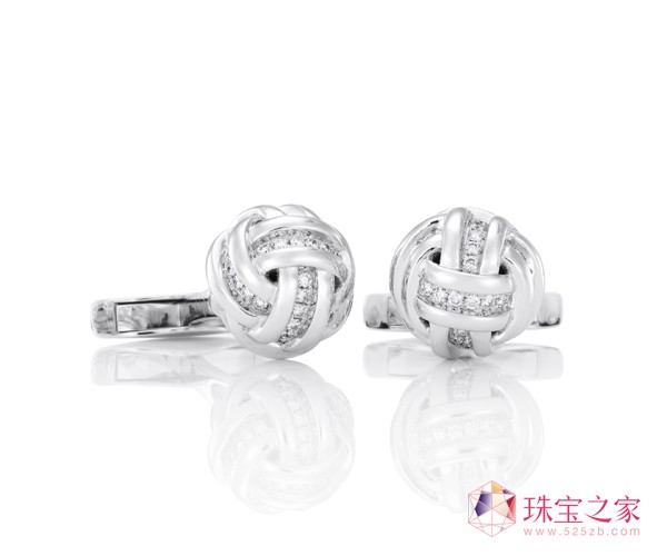 18K白金KNOT袖扣戴比尔斯钻石珠宝(DE BEERS DIAMOND JEWELLERS)AZULEA男士礼品