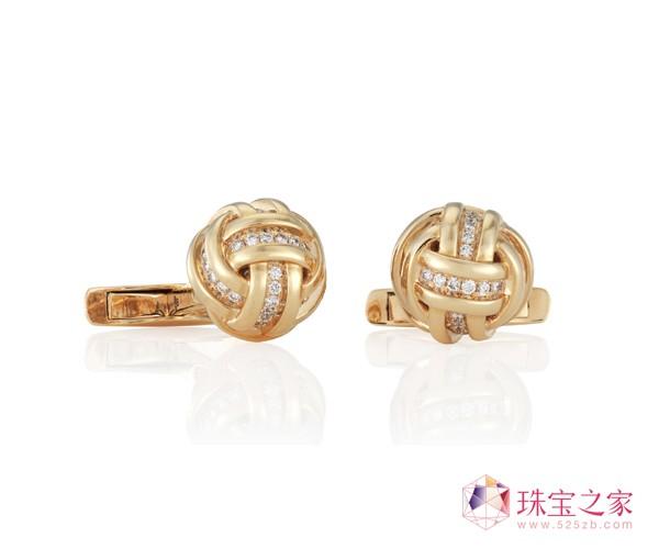 玫瑰金KNOT袖扣戴比尔斯钻石珠宝(DE BEERS DIAMOND JEWELLERS)AZULEA男士礼品