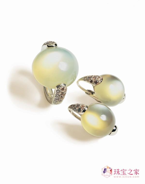 Luna系列白金镶月光石和褐钻