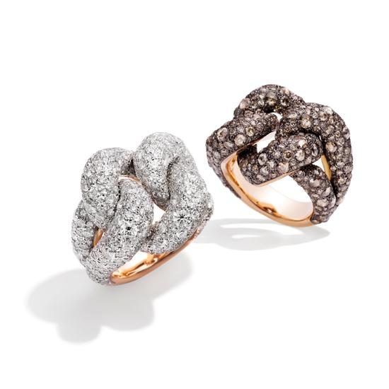 """指间闪耀Pomellato""""红毯之星""""Tango系列玫瑰金镶钻石戒指,耳畔耀动Gourmette系列白金镶钻石耳环"""