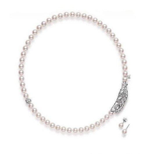 MIKIMOTO Akoya珍珠钻石项链,羽毛珠宝 柔美轻盈之姿色