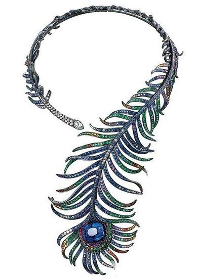 宝诗龙trouble Desir系列羽毛项链,羽毛珠宝 柔美轻盈之姿色