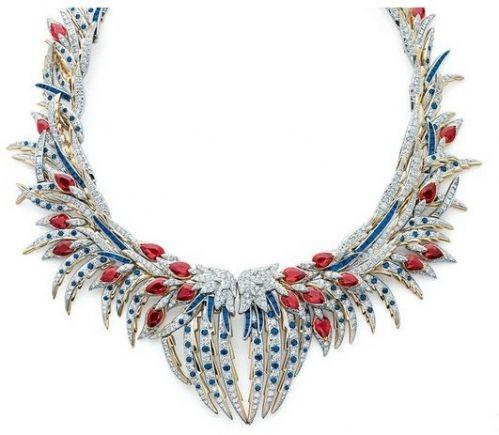 蒂芙尼让•史隆伯杰18k金镶钻及彩色宝石羽毛项链,羽毛珠宝 柔美轻盈之姿色