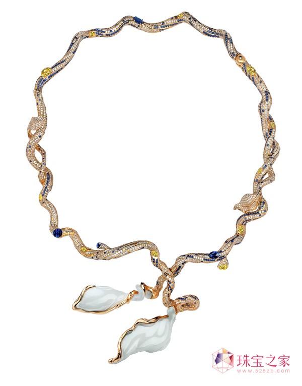 《晚秋之梦》18k金镶新疆和田羊脂籽玉、钻石及蓝宝石项圈