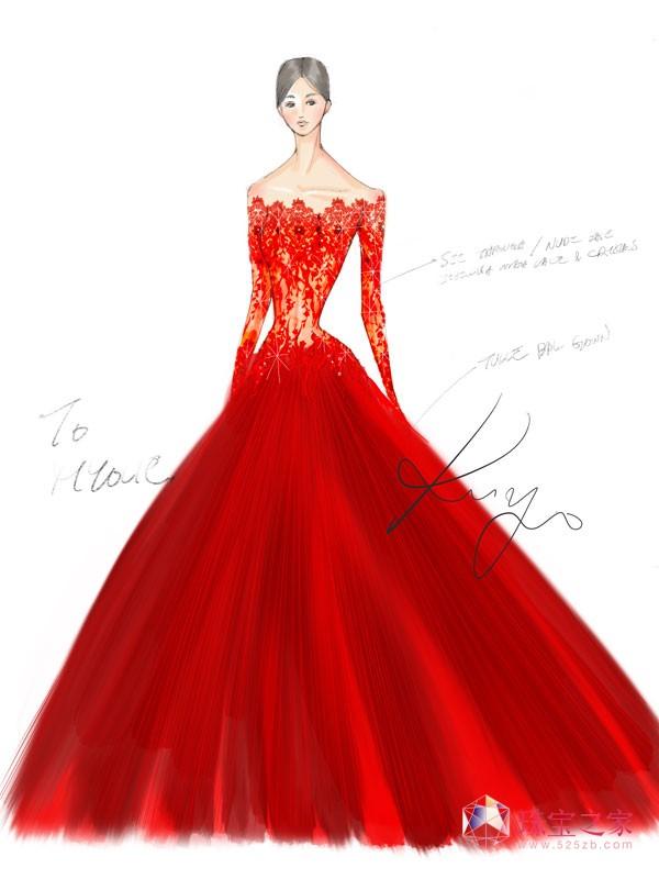 宝仕奥莎与著名婚纱设计师姚子裕掌舵的Kevolie首度合作。绚丽的红色露肩纱裙运用了耀眼的宝仕奥莎红色圆形仿水晶珍珠和机切珠仿水晶配环