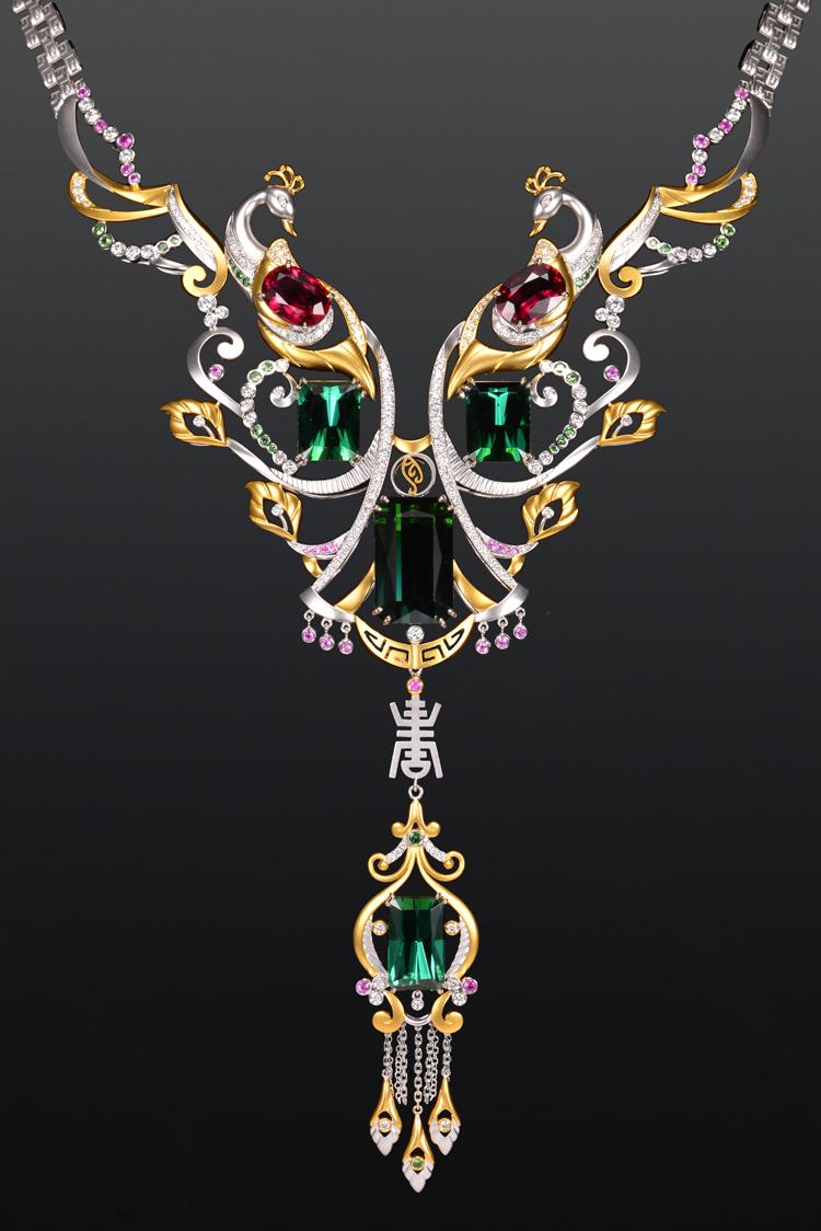 赋予珠宝灵魂的现代女娲,碧璽孔雀展翅套鍊