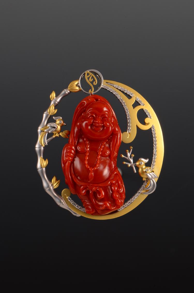 赋予珠宝灵魂的现代女娲,珊瑚彌勒佛