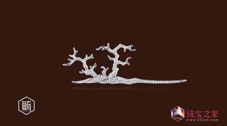 """张宇鹏设计作品-毓珠宝《笔墨文心》系列之""""树色平远"""""""