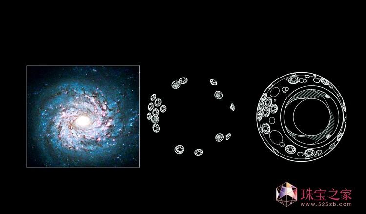 星河寰宇美学:听说时光回来过。美妙星河故事:听说时光回来过。光学投影,珍珠充当成像的作用,让物体之外也具备美学基础,在有限的珠宝空间设计突破至本身之外的空间设计