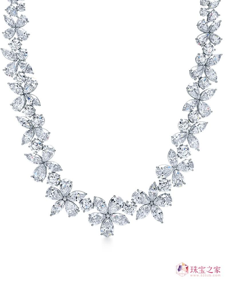 tiffany & co. 蒂芙尼victoria系列铂金镶钻花簇项链