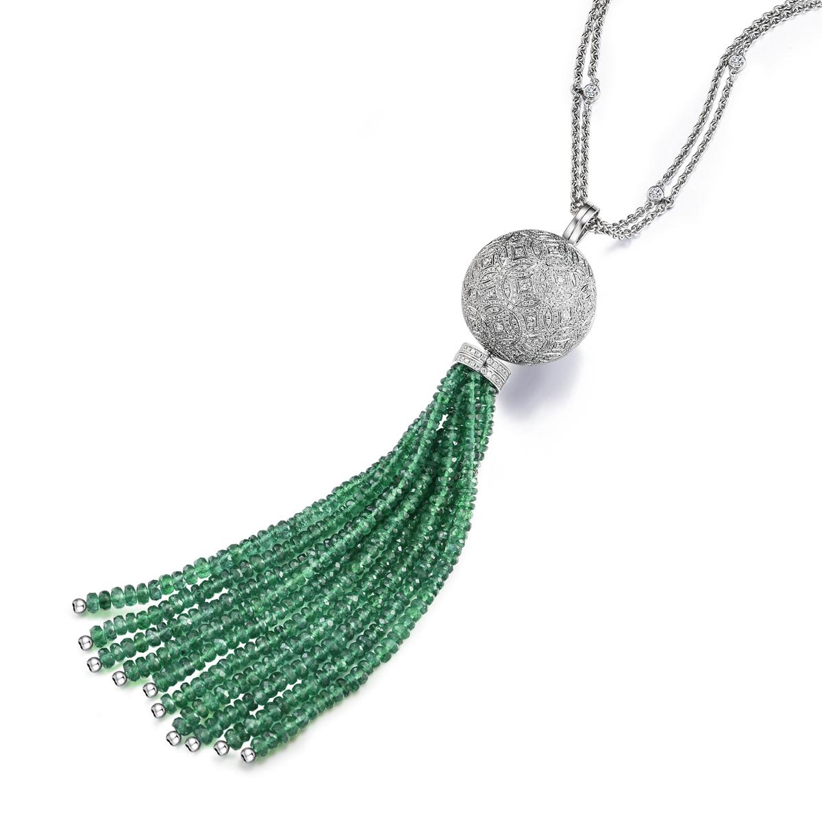 香囊系列18k白金镶钻石及沙祖母绿流苏项链