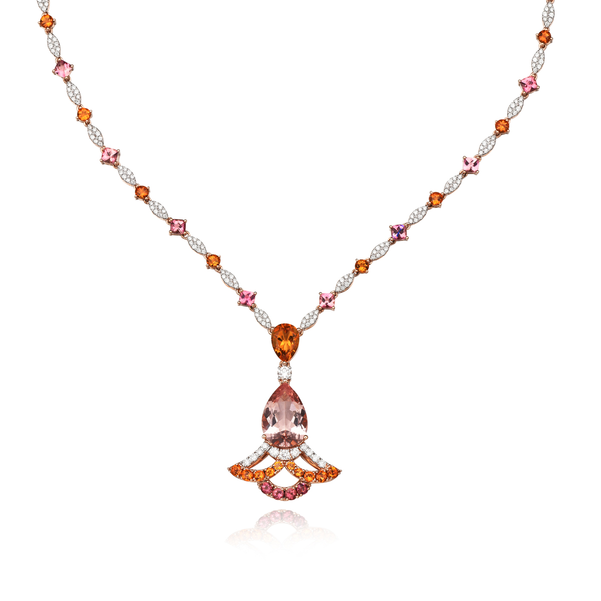 peplum舞裙系列18k金摩根石黄晶项链